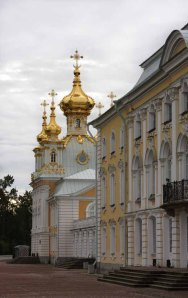 The gold-domed exterior of Peterhof.