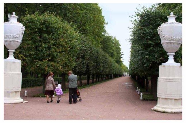 Walking path between hedges at Peterhofphoto by Morgan Thomas